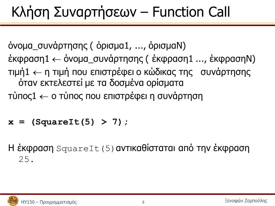 ΗΥ150 – Προγραμματισμός Ξενοφών Ζαμπούλης 8 Κλήση Συναρτήσεων – Function Call όνομα_συνάρτησης ( όρισμα1,..., όρισμαΝ) έκφραση1  όνομα_συνάρτησης ( έκφραση1..., έκφρασηΝ) τιμή1  η τιμή που επιστρέφει ο κώδικας της συνάρτησης όταν εκτελεστεί με τα δοσμένα ορίσματα τύπος1  ο τύπος που επιστρέφει η συνάρτηση x = (SquareIt(5) > 7); Η έκφραση SquareIt(5) αντικαθίσταται από την έκφραση 25.