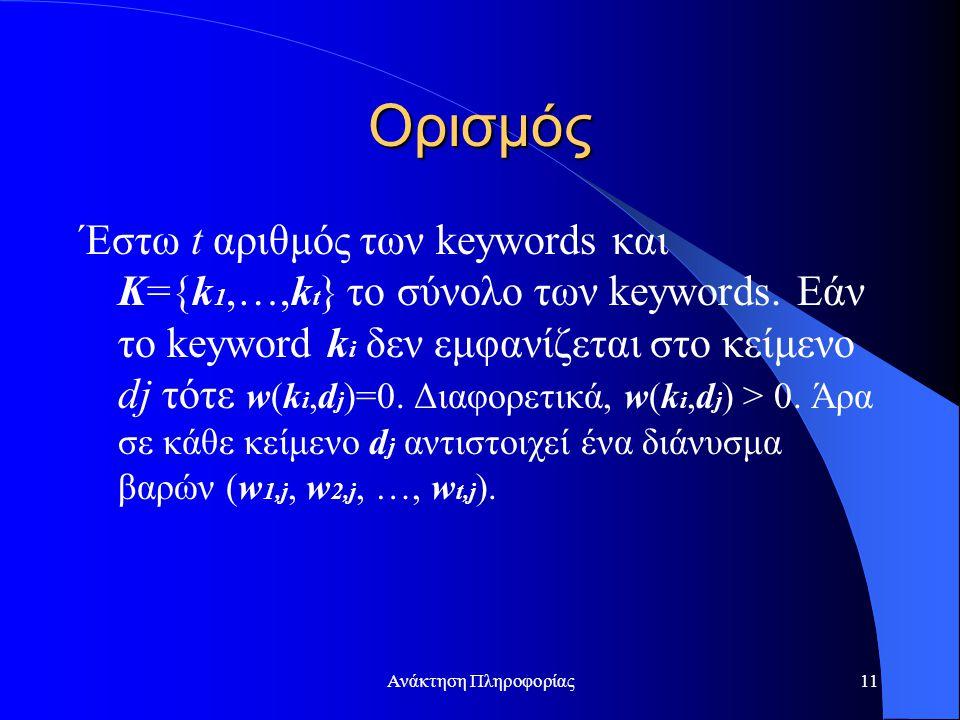 Ανάκτηση Πληροφορίας11 Ορισμός Έστω t αριθμός των keywords και K={k 1,…,k t } το σύνολο των keywords. Εάν το keyword k i δεν εμφανίζεται στο κείμενο d