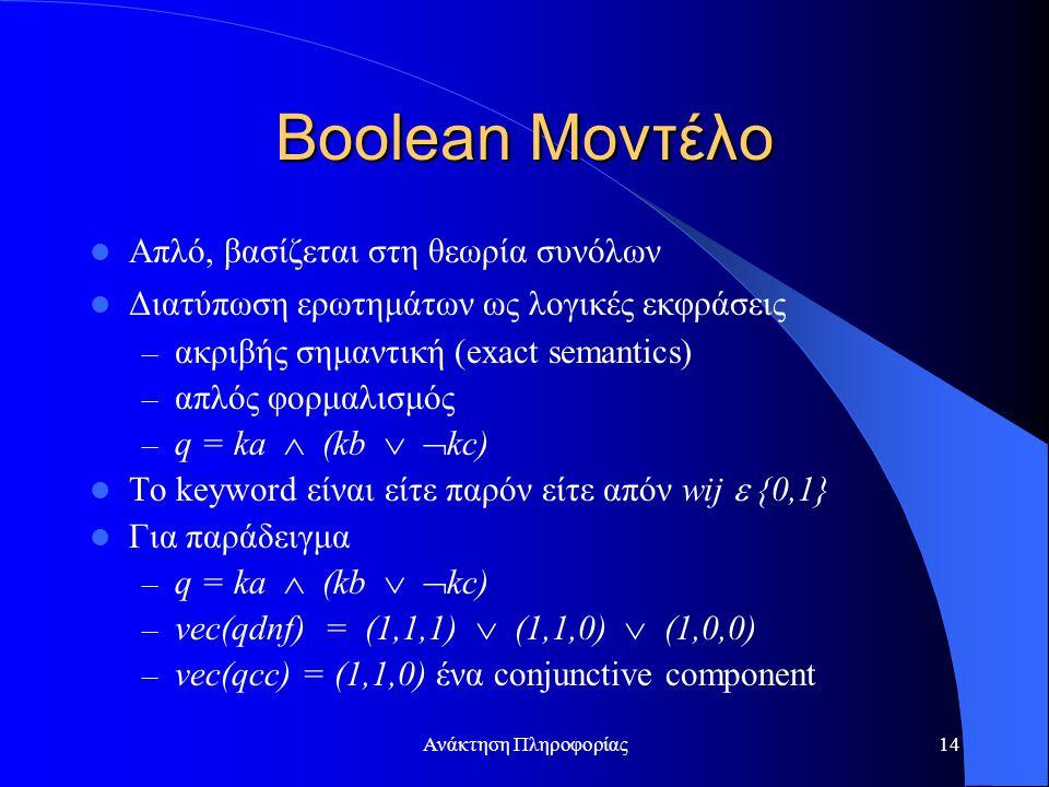 Ανάκτηση Πληροφορίας14 Boolean Μοντέλο Απλό, βασίζεται στη θεωρία συνόλων Διατύπωση ερωτημάτων ως λογικές εκφράσεις – ακριβής σημαντική (exact semantics) – απλός φορμαλισμός – q = ka  (kb   kc) To keyword είναι είτε παρόν είτε απόν wij  {0,1} Για παράδειγμα – q = ka  (kb   kc) – vec(qdnf) = (1,1,1)  (1,1,0)  (1,0,0) – vec(qcc) = (1,1,0) ένα conjunctive component