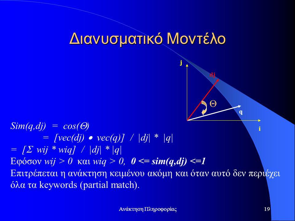 Ανάκτηση Πληροφορίας19 Sim(q,dj) = cos(  ) = [vec(dj)  vec(q)] / |dj| * |q| = [  wij * wiq] / |dj| * |q| Εφόσον wij > 0 και wiq > 0, 0 <= sim(q,dj) <=1 Επιτρέπεται η ανάκτηση κειμένου ακόμη και όταν αυτό δεν περιέχει όλα τα keywords (partial match).