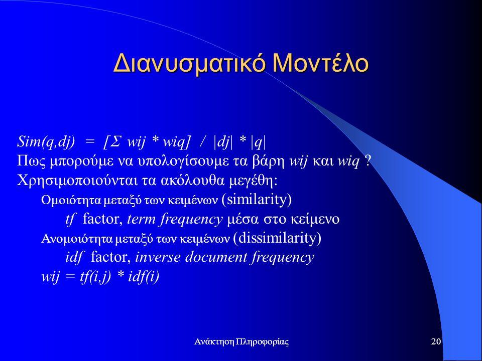 Ανάκτηση Πληροφορίας20 Sim(q,dj) = [  wij * wiq] / |dj| * |q| Πως μπορούμε να υπολογίσουμε τα βάρη wij και wiq ? Χρησιμοποιούνται τα ακόλουθα μεγέθη: