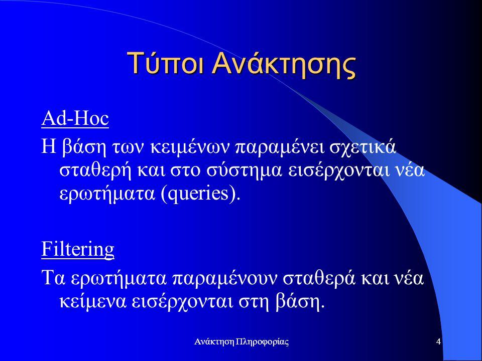 Ανάκτηση Πληροφορίας4 Τύποι Ανάκτησης Ad-Hoc Η βάση των κειμένων παραμένει σχετικά σταθερή και στο σύστημα εισέρχονται νέα ερωτήματα (queries). Filter