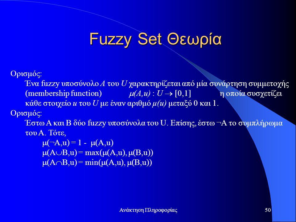 Ανάκτηση Πληροφορίας50 Ορισμός: Ένα fuzzy υποσύνολο A του U χαρακτηρίζεται από μία συνάρτηση συμμετοχής (membership function)  (A,u) : U  [0,1] η οποία συσχετίζει κάθε στοιχείο u του U με έναν αριθμό μ(u) μεταξύ 0 και 1.