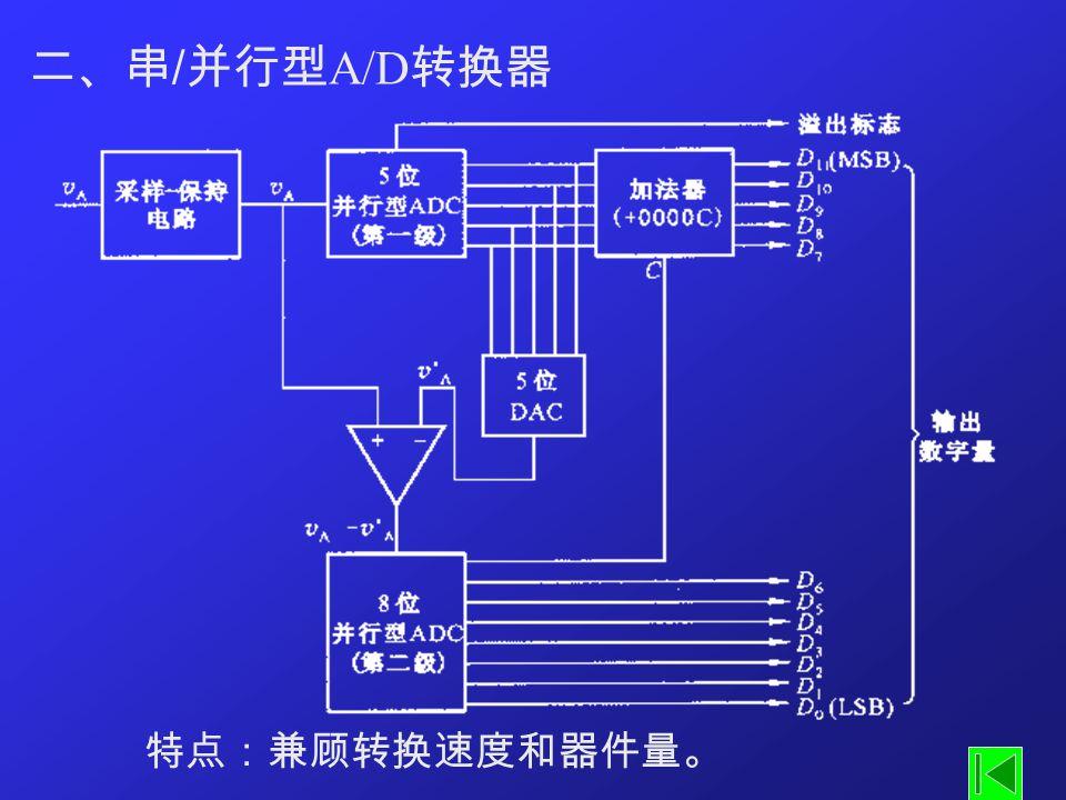 二、串 / 并行型 A/D 转换器 特点:兼顾转换速度和器件量。