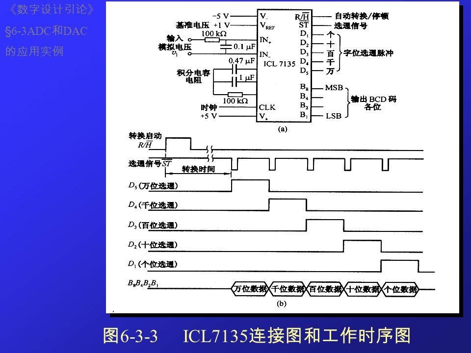 图 6-3-3 ICL7135 连接图和工作时序图 《数字设计引论》 §6-3ADC 和 DAC 的应用实例