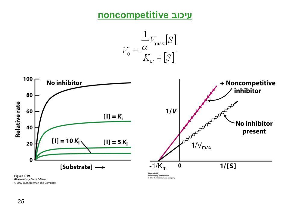 25 עיכוב noncompetitive -1/K m 1/V max