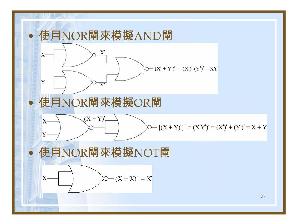27 使用 NOR 閘來模擬 AND 閘 使用 NOR 閘來模擬 OR 閘 使用 NOR 閘來模擬 NOT 閘