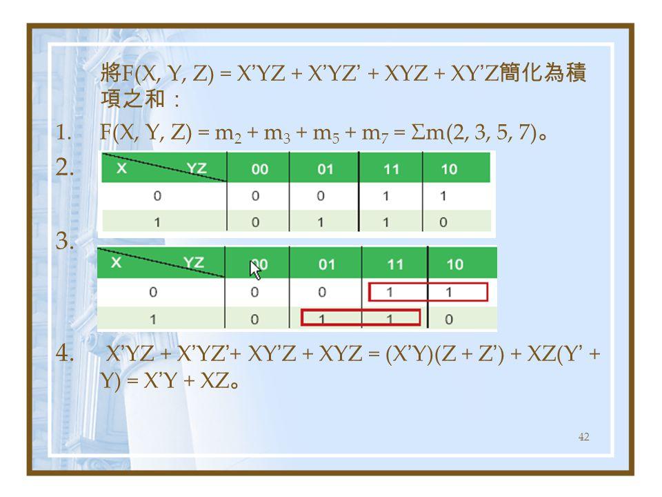 42 將 F(X, Y, Z) = X ' YZ + X ' YZ ' + XYZ + XY ' Z 簡化為積 項之和: 1.F(X, Y, Z) = m 2 + m 3 + m 5 + m 7 = Σm(2, 3, 5, 7) 。 2. 3. 4. X ' YZ + X ' YZ ' + XY '