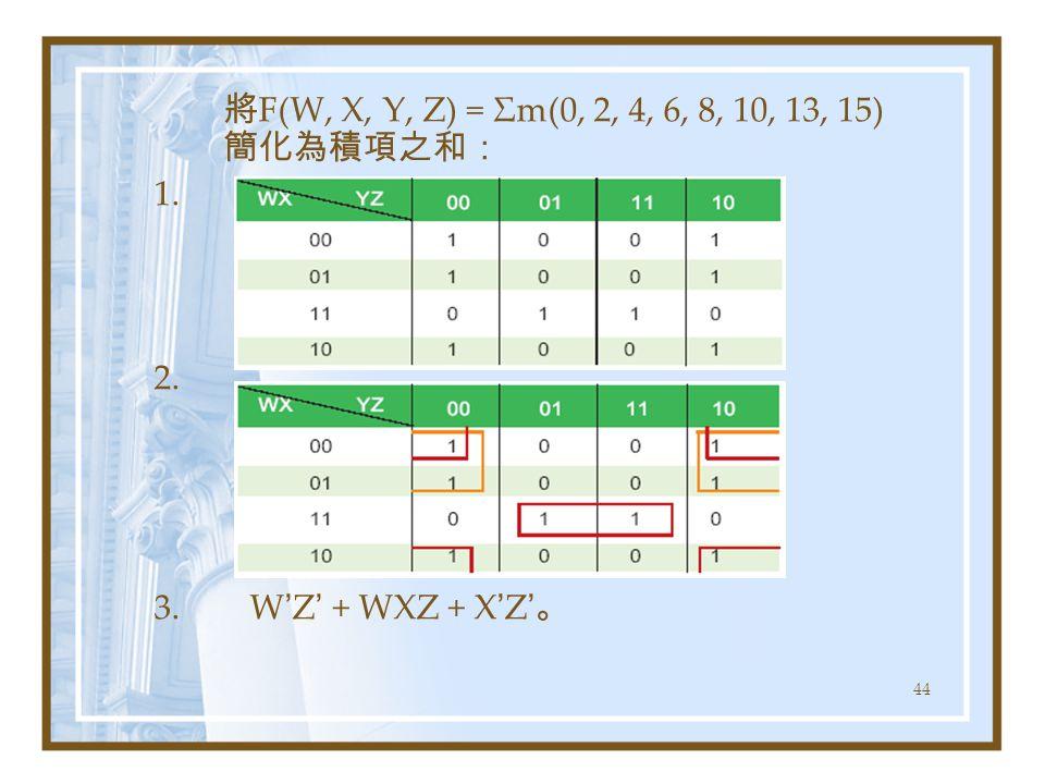 44 將 F(W, X, Y, Z) = Σm(0, 2, 4, 6, 8, 10, 13, 15) 簡化為積項之和: 1. 2. 3. W ' Z ' + WXZ + X ' Z ' 。