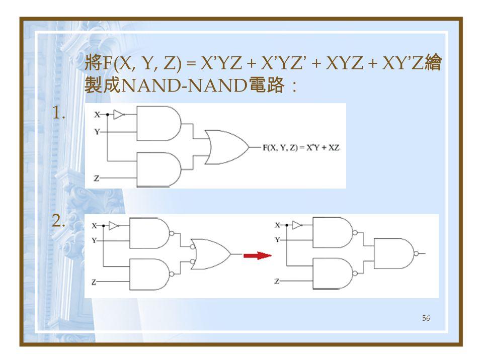 56 將 F(X, Y, Z) = X ' YZ + X ' YZ ' + XYZ + XY ' Z 繪 製成 NAND-NAND 電路: 1. 2.