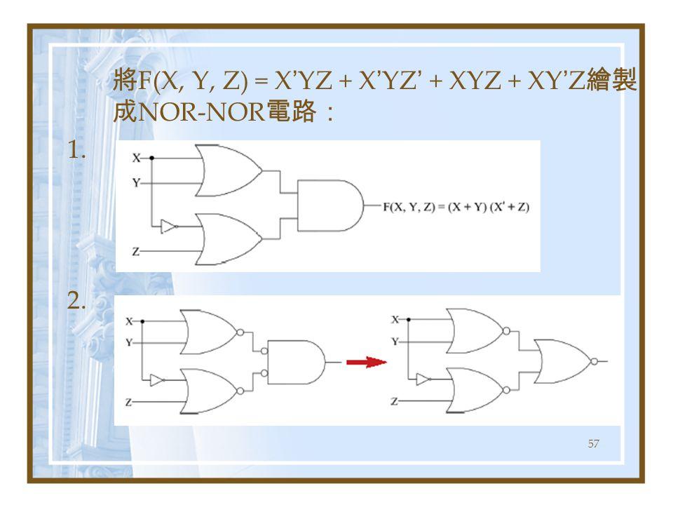 57 將 F(X, Y, Z) = X ' YZ + X ' YZ ' + XYZ + XY ' Z 繪製 成 NOR-NOR 電路: 1. 2.
