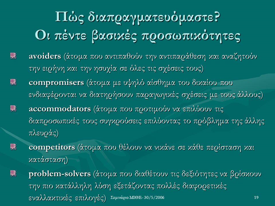Σεμινάριο ΜΙΘΕ- 30/5/200619 Πώς διαπραγματευόμαστε? Οι πέντε βασικές προσωπικότητες avoiders (άτομα που αντιπαθούν την αντιπαράθεση και αναζητούν την
