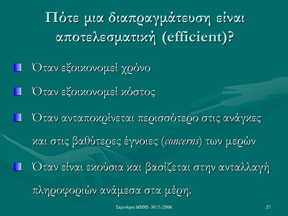 Σεμινάριο ΜΙΘΕ- 30/5/200627 Πότε μια διαπραγμάτευση είναι αποτελεσματική (efficient)? Όταν εξοικονομεί χρόνο Όταν εξοικονομεί κόστος Όταν ανταποκρίνετ