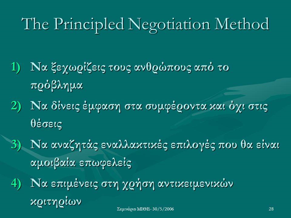 Σεμινάριο ΜΙΘΕ- 30/5/200628 The Principled Negotiation Method 1)Να ξεχωρίζεις τους ανθρώπους από το πρόβλημα 2)Να δίνεις έμφαση στα συμφέροντα και όχι