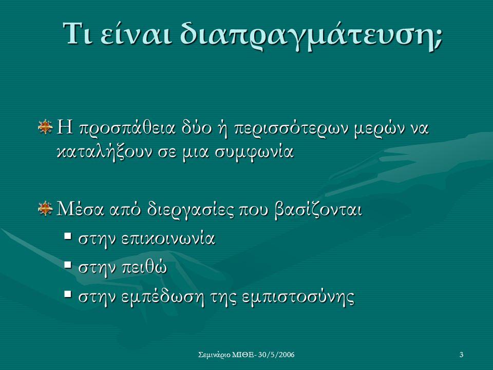 Σεμινάριο ΜΙΘΕ- 30/5/20063 Τι είναι διαπραγμάτευση; Η προσπάθεια δύο ή περισσότερων μερών να καταλήξουν σε μια συμφωνία Μέσα από διεργασίες που βασίζο