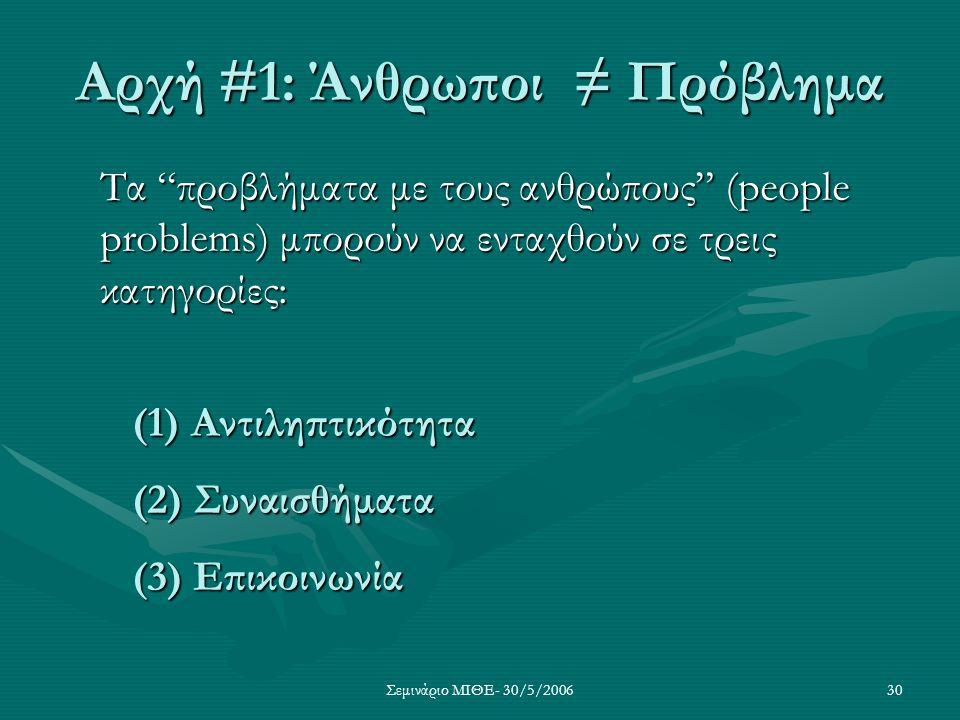 """Σεμινάριο ΜΙΘΕ- 30/5/200630 Αρχή #1: Άνθρωποι ≠ Πρόβλημα Τα """"προβλήματα με τους ανθρώπους"""" (people problems) μπορούν να ενταχθούν σε τρεις κατηγορίες:"""