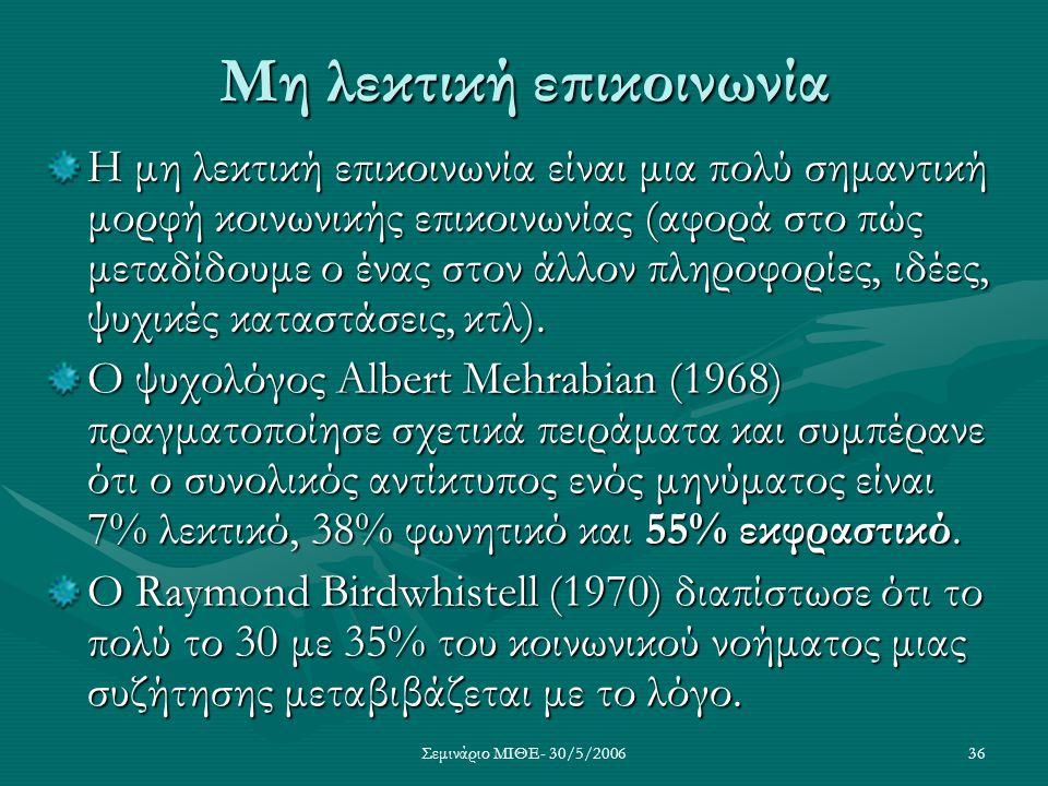 Σεμινάριο ΜΙΘΕ- 30/5/200636 Μη λεκτική επικοινωνία Η μη λεκτική επικοινωνία είναι μια πολύ σημαντική μορφή κοινωνικής επικοινωνίας (αφορά στο πώς μετα