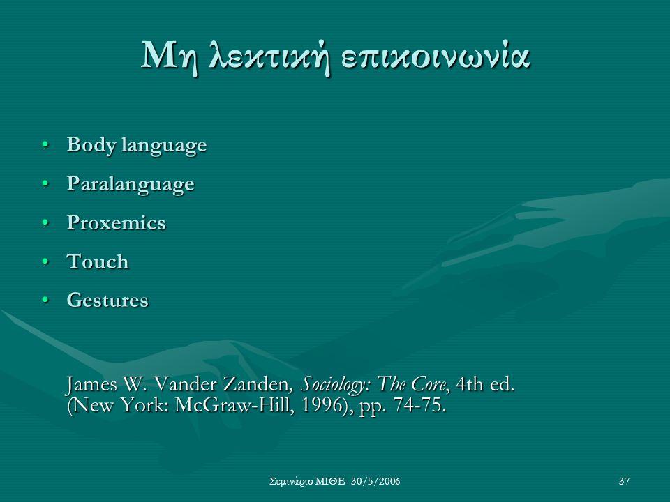 Σεμινάριο ΜΙΘΕ- 30/5/200637 Μη λεκτική επικοινωνία Body languageBody language ParalanguageParalanguage ProxemicsProxemics TouchTouch GesturesGestures
