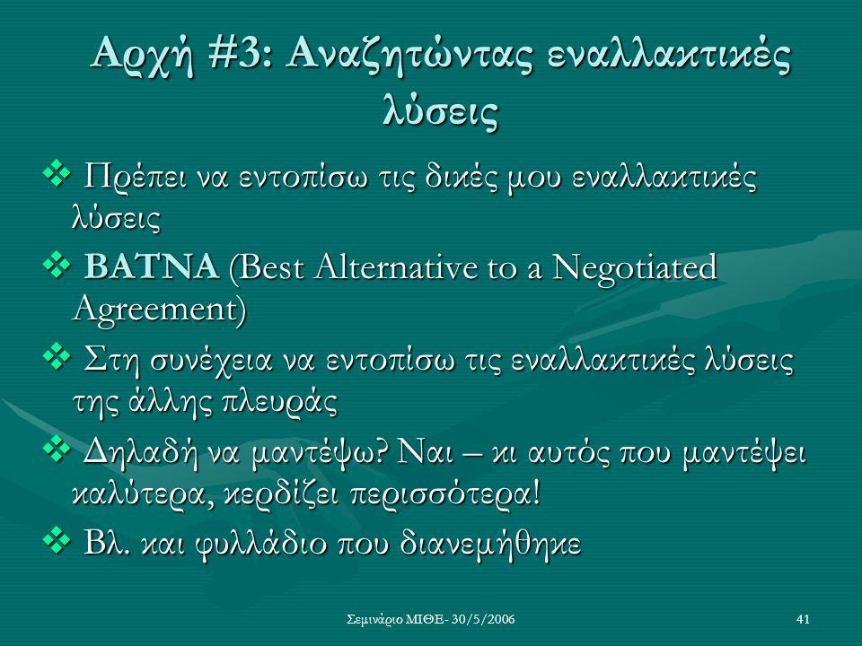 Σεμινάριο ΜΙΘΕ- 30/5/200641 Αρχή #3: Αναζητώντας εναλλακτικές λύσεις  Πρέπει να εντοπίσω τις δικές μου εναλλακτικές λύσεις  BATNA (Best Alternative