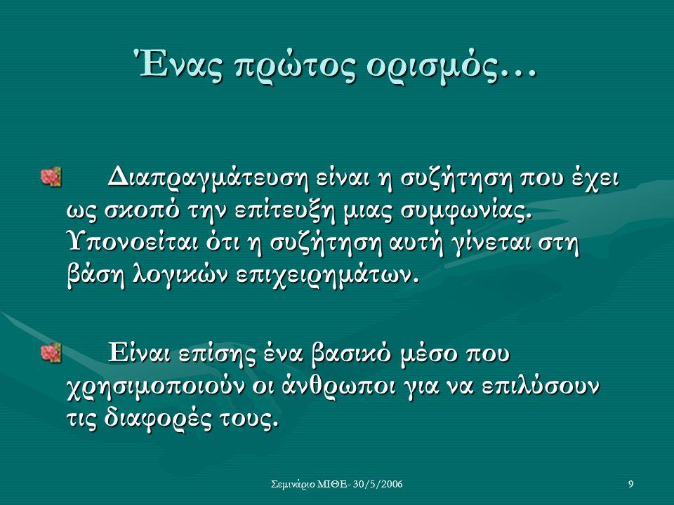 Σεμινάριο ΜΙΘΕ- 30/5/20069 Ένας πρώτος ορισμός… Διαπραγμάτευση είναι η συζήτηση που έχει ως σκοπό την επίτευξη μιας συμφωνίας. Υπονοείται ότι η συζήτη