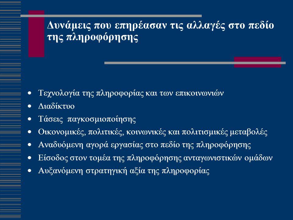Δυνάμεις που επηρέασαν τις αλλαγές στο πεδίο της πληροφόρησης  Τεχνολογία της πληροφορίας και των επικοινωνιών  Διαδίκτυο  Τάσεις παγκοσμιοποίησης  Οικονομικές, πολιτικές, κοινωνικές και πολιτισμικές μεταβολές  Αναδυόμενη αγορά εργασίας στο πεδίο της πληροφόρησης  Είσοδος στον τομέα της πληροφόρησης ανταγωνιστικών ομάδων  Αυξανόμενη στρατηγική αξία της πληροφορίας