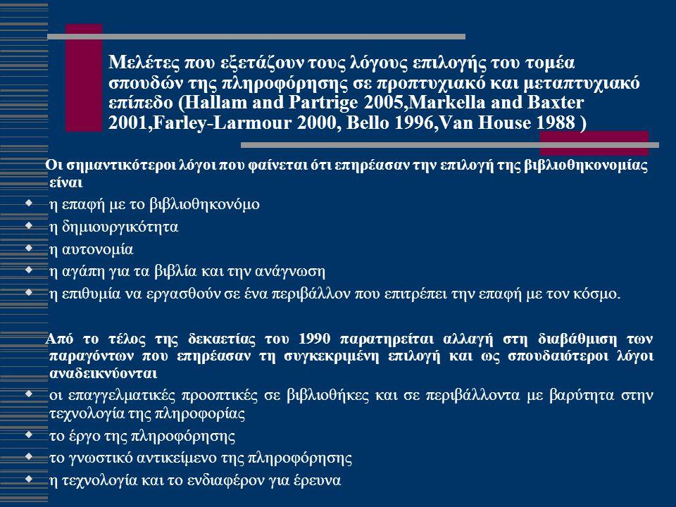 Μελέτες που αφορούν την επιλογή του τομέα σπουδών ήδη εργαζομένων σε πληροφοριακούς οργανισμούς (Markella and Baxter 2001,Winston 1997)  Οι απόφοιτοι τεκμηριώνουν την επιλογή τους με βάση το ενδιαφέρον για επαγγέλματα παροχής υπηρεσιών  προσωπική επιθυμία για απασχόληση στον τομέα αυτό  εκτίμηση του έργου και του περιβάλλοντος πληροφόρησης  επιρροή από σημαντικά πρόσωπα.