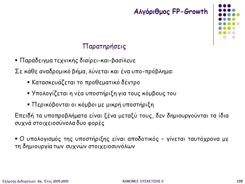 Εξόρυξη Δεδομένων: Ακ. Έτος 2008-2009ΚΑΝΟΝΕΣ ΣΥΣΧΕΤΙΣΗΣ II105 Αλγόριθμος FP-Growth  Παράδειγμα τεχνικής διαίρει-και-βασίλευε Σε κάθε αναδρομικό βήμα,