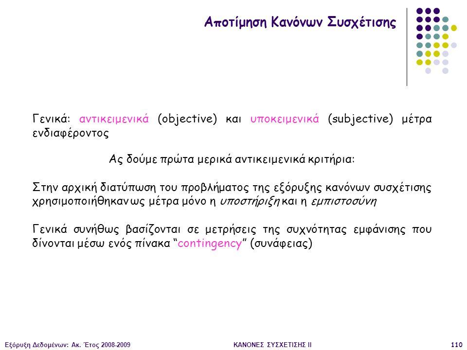 Εξόρυξη Δεδομένων: Ακ. Έτος 2008-2009ΚΑΝΟΝΕΣ ΣΥΣΧΕΤΙΣΗΣ II110 Αποτίμηση Κανόνων Συσχέτισης Γενικά: αντικειμενικά (objective) και υποκειμενικά (subject