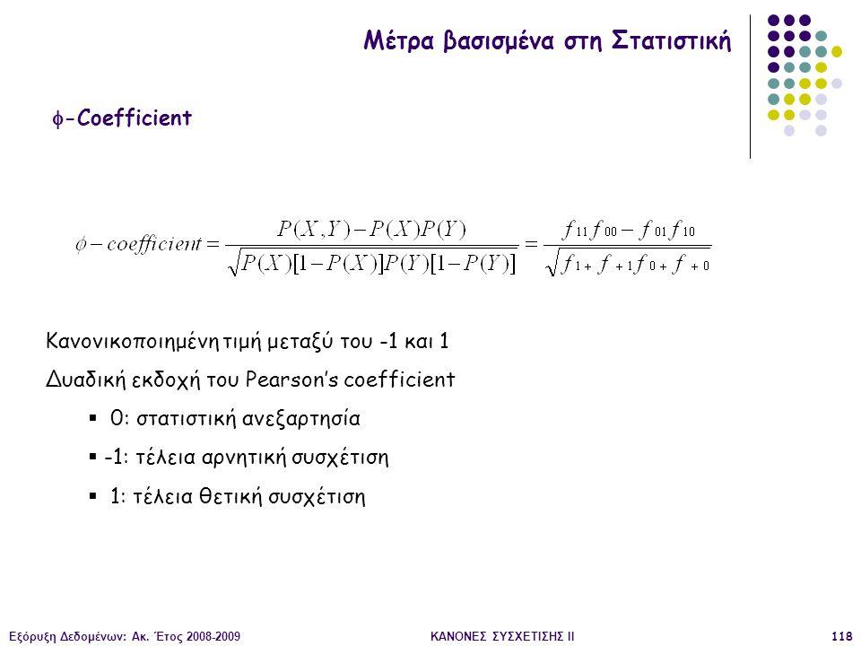 Εξόρυξη Δεδομένων: Ακ. Έτος 2008-2009ΚΑΝΟΝΕΣ ΣΥΣΧΕΤΙΣΗΣ II118  -Coefficient Μέτρα βασισμένα στη Στατιστική Κανονικοποιημένη τιμή μεταξύ του -1 και 1