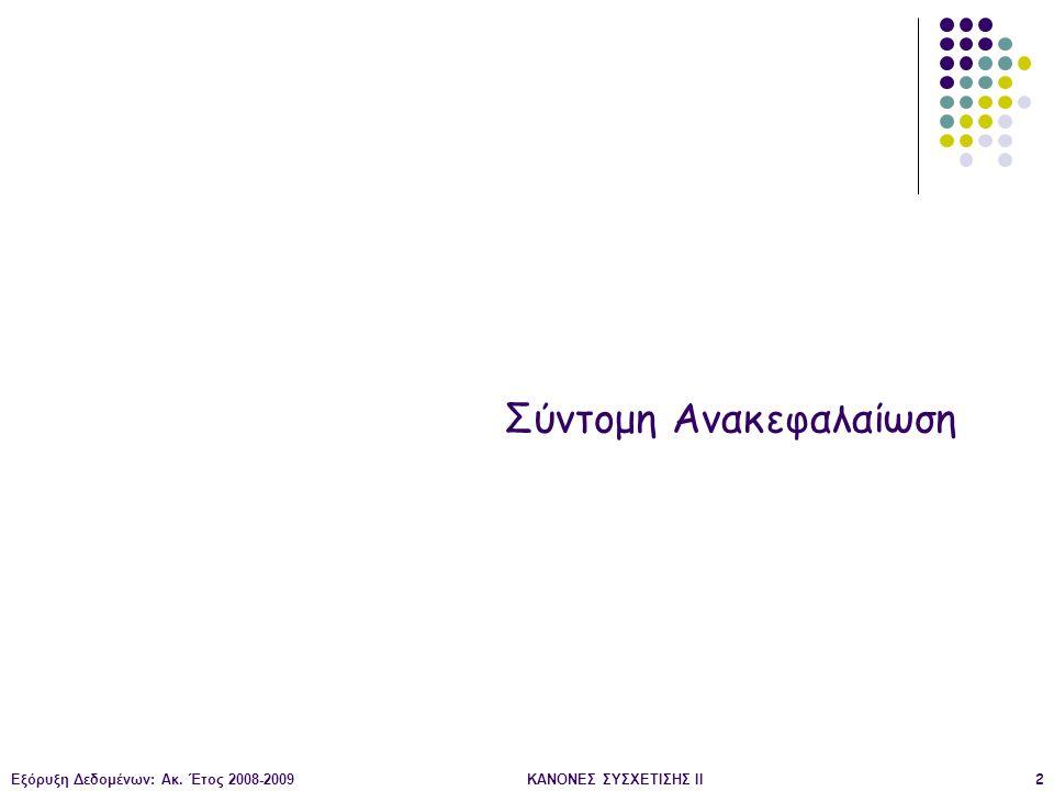 Εξόρυξη Δεδομένων: Ακ. Έτος 2008-2009ΚΑΝΟΝΕΣ ΣΥΣΧΕΤΙΣΗΣ II133 Οπτικοποίηση: Απλός Γράφος