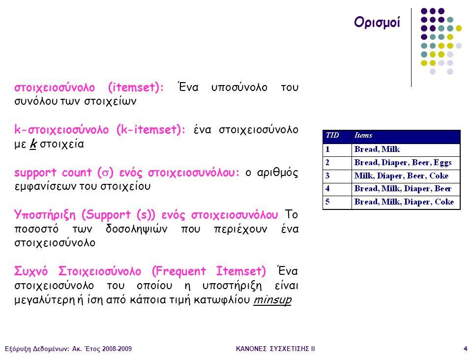 Εξόρυξη Δεδομένων: Ακ. Έτος 2008-2009ΚΑΝΟΝΕΣ ΣΥΣΧΕΤΙΣΗΣ II4 Ορισμοί στοιχειοσύνολο (itemset): Ένα υποσύνολο του συνόλου των στοιχείων k-στοιχειοσύνολο