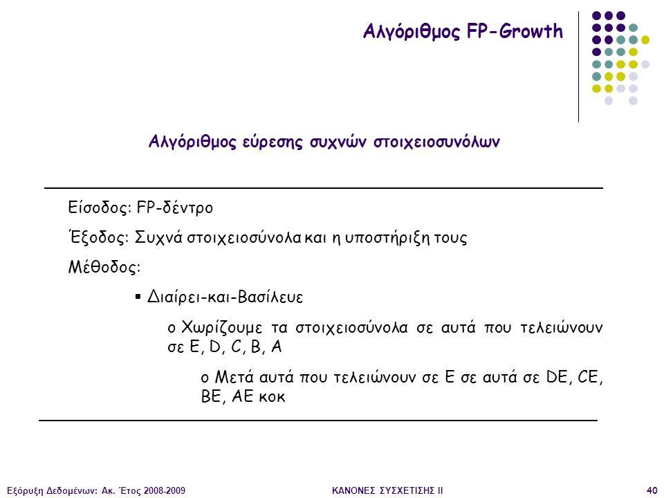 Εξόρυξη Δεδομένων: Ακ. Έτος 2008-2009ΚΑΝΟΝΕΣ ΣΥΣΧΕΤΙΣΗΣ II40 Αλγόριθμος εύρεσης συχνών στοιχειοσυνόλων Αλγόριθμος FP-Growth Είσοδος: FP-δέντρο Έξοδος: