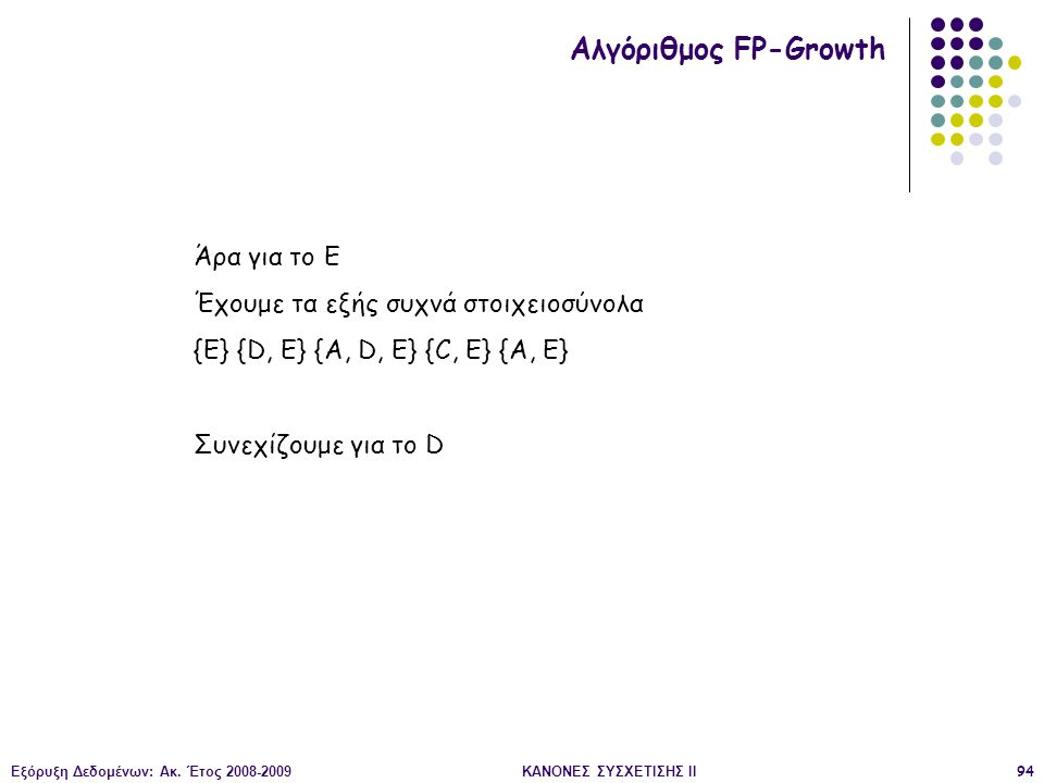 Εξόρυξη Δεδομένων: Ακ. Έτος 2008-2009ΚΑΝΟΝΕΣ ΣΥΣΧΕΤΙΣΗΣ II94 Αλγόριθμος FP-Growth Άρα για το Ε Έχουμε τα εξής συχνά στοιχειοσύνολα {Ε} {D, E} {A, D, E