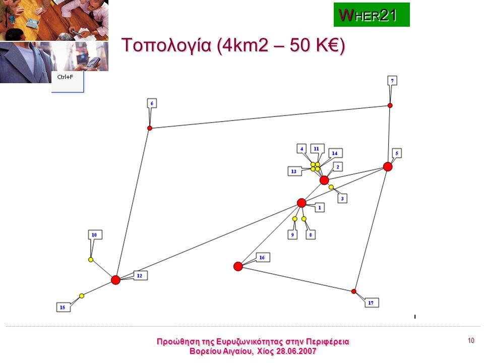 10 Προώθηση της Ευρυζωνικότητας στην Περιφέρεια Βορείου Αιγαίου, Χίος 28.06.2007 Τοπολογία (4km2 – 50 K€) W ΗΕR 21