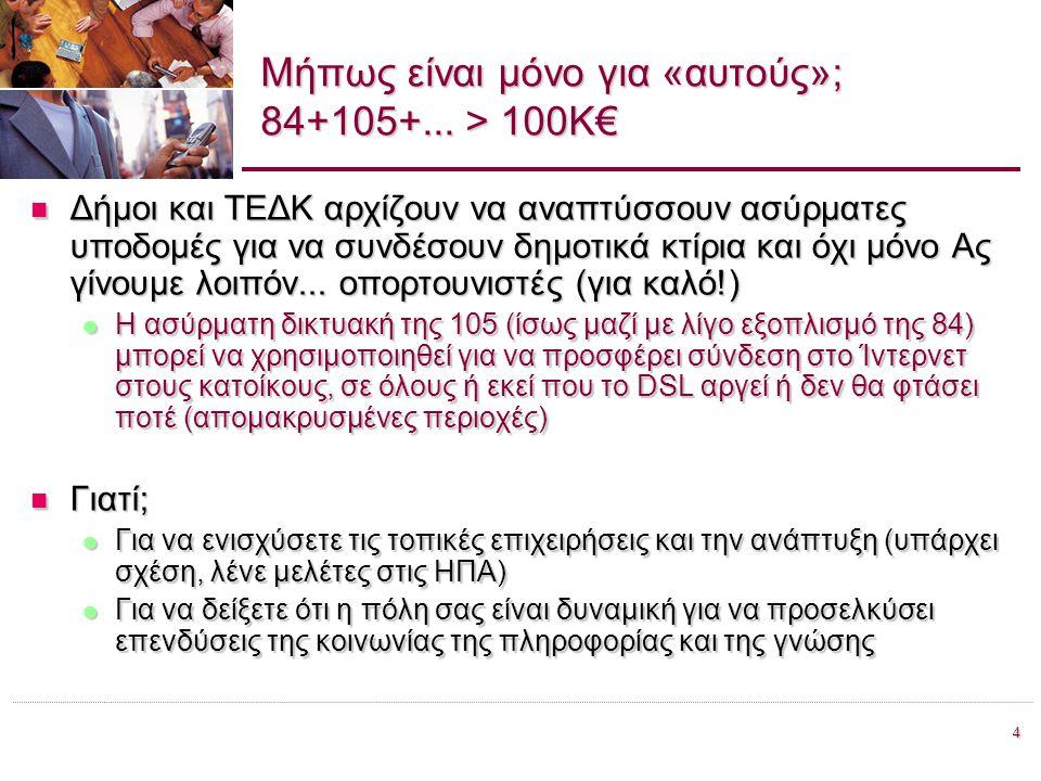 4 Προώθηση της Ευρυζωνικότητας στην Περιφέρεια Βορείου Αιγαίου, Χίος 28.06.2007 Μήπως είναι μόνο για «αυτούς»; 84+105+... > 100Κ€ Δήμοι και ΤΕΔΚ αρχίζ