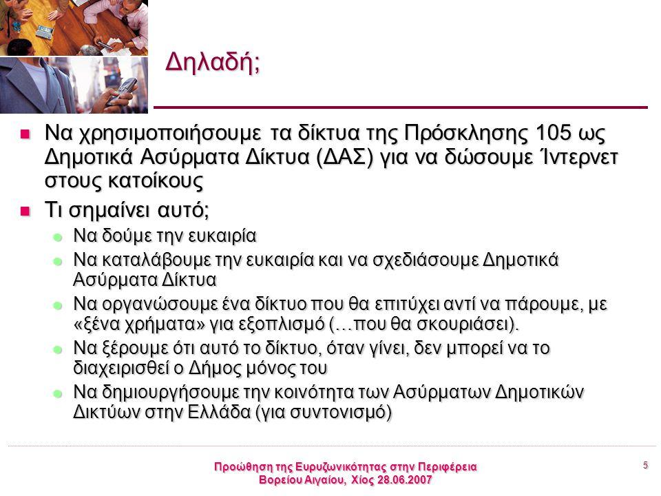 5 Προώθηση της Ευρυζωνικότητας στην Περιφέρεια Βορείου Αιγαίου, Χίος 28.06.2007 Δηλαδή; Να χρησιμοποιήσουμε τα δίκτυα της Πρόσκλησης 105 ως Δημοτικά Ασύρματα Δίκτυα (ΔΑΣ) για να δώσουμε Ίντερνετ στους κατοίκους Να χρησιμοποιήσουμε τα δίκτυα της Πρόσκλησης 105 ως Δημοτικά Ασύρματα Δίκτυα (ΔΑΣ) για να δώσουμε Ίντερνετ στους κατοίκους Τι σημαίνει αυτό; Τι σημαίνει αυτό; Να δούμε την ευκαιρία Να δούμε την ευκαιρία Να καταλάβουμε την ευκαιρία και να σχεδιάσουμε Δημοτικά Ασύρματα Δίκτυα Να καταλάβουμε την ευκαιρία και να σχεδιάσουμε Δημοτικά Ασύρματα Δίκτυα Να οργανώσουμε ένα δίκτυο που θα επιτύχει αντί να πάρουμε, με «ξένα χρήματα» για εξοπλισμό (…που θα σκουριάσει).