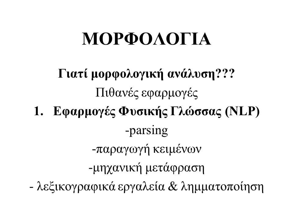 ΜΟΡΦΟΛΟΓΙΑ Γιατί μορφολογική ανάλυση??? Πιθανές εφαρμογές 1.Εφαρμογές Φυσικής Γλώσσας (NLP) -parsing -παραγωγή κειμένων -μηχανική μετάφραση - λεξικογρ