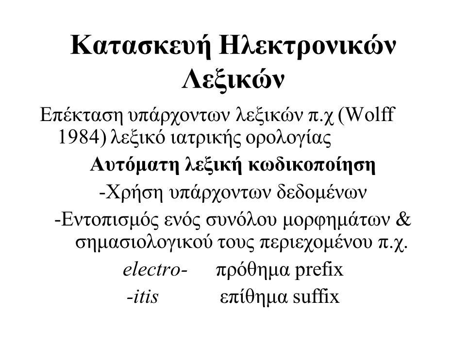 Κατασκευή Ηλεκτρονικών Λεξικών Επέκταση υπάρχοντων λεξικών π.χ (Wolff 1984) λεξικό ιατρικής ορολογίας Αυτόματη λεξική κωδικοποίηση -Χρήση υπάρχοντων δ