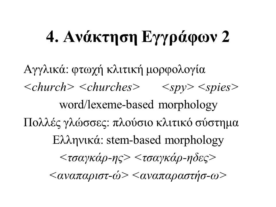 4. Ανάκτηση Εγγράφων 2 Αγγλικά: φτωχή κλιτική μορφολογία word/lexeme-based morphology Πολλές γλώσσες: πλούσιο κλιτικό σύστημα Ελληνικά: stem-based mor