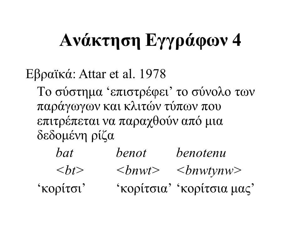 Ανάκτηση Εγγράφων 4 Εβραϊκά: Attar et al. 1978 Το σύστημα 'επιστρέφει' το σύνολο των παράγωγων και κλιτών τύπων που επιτρέπεται να παραχθούν από μια δ