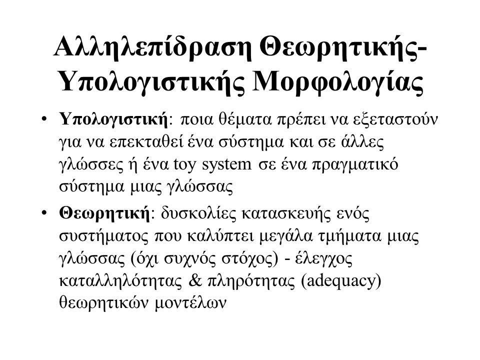 Αλληλεπίδραση Θεωρητικής- Υπολογιστικής Μορφολογίας Υπολογιστική: ποια θέματα πρέπει να εξεταστούν για να επεκταθεί ένα σύστημα και σε άλλες γλώσσες ή