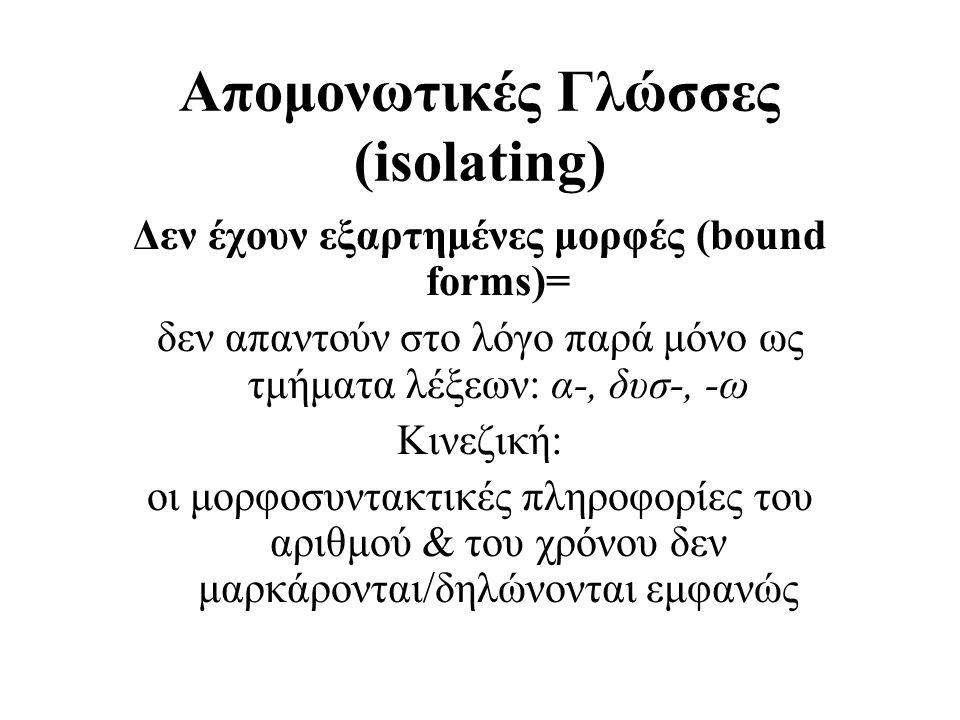 Απομονωτικές Γλώσσες (isolating) Δεν έχουν εξαρτημένες μορφές (bound forms)= δεν απαντούν στο λόγο παρά μόνο ως τμήματα λέξεων: α-, δυσ-, -ω Κινεζική: