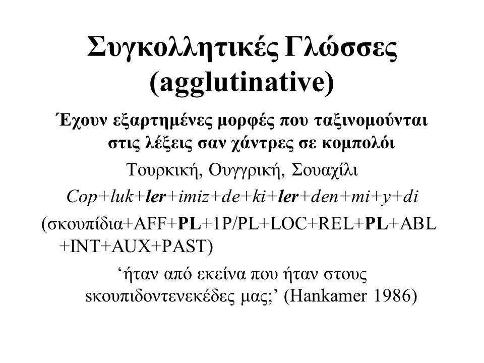 Συγκολλητικές Γλώσσες (agglutinative) Έχουν εξαρτημένες μορφές που ταξινομούνται στις λέξεις σαν χάντρες σε κομπολόι Τουρκική, Oυγγρική, Σουαχίλι Cop+