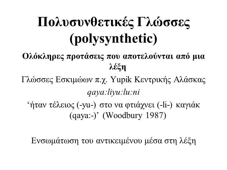 Πολυσυνθετικές Γλώσσες (polysynthetic) Ολόκληρες προτάσεις που αποτελούνται από μια λέξη Γλώσσες Εσκιμώων π.χ. Yupik Κεντρικής Αλάσκας qaya:liyu:lu:ni
