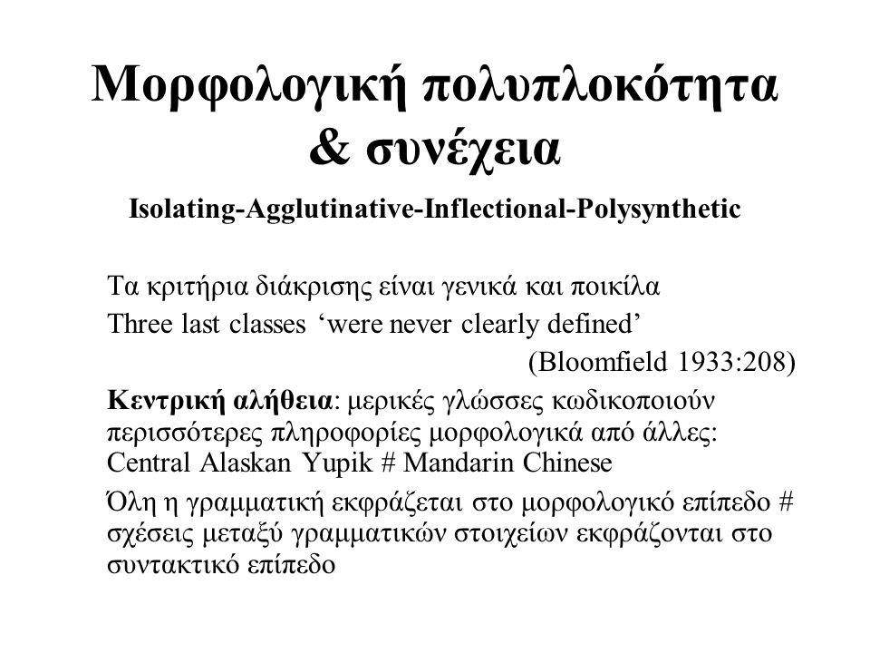 Μορφολογική πολυπλοκότητα & συνέχεια Isolating-Agglutinative-Inflectional-Polysynthetic Τα κριτήρια διάκρισης είναι γενικά και ποικίλα Τhree last clas