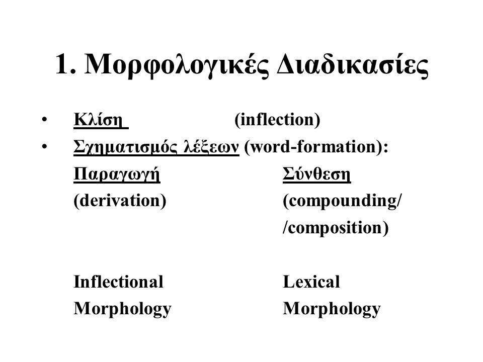 1. Mορφολογικές Διαδικασίες Κλίση (inflection) Σχηματισμός λέξεων (word-formation): Παραγωγή Σύνθεση (derivation)(compounding/ /composition) Inflectio