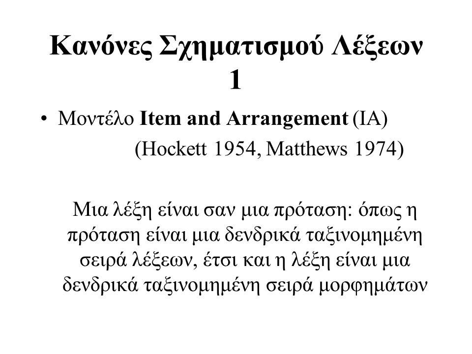 Κανόνες Σχηματισμού Λέξεων 1 Μοντέλο Item and Arrangement (ΙΑ) (Hockett 1954, Matthews 1974) Μια λέξη είναι σαν μια πρόταση: όπως η πρόταση είναι μια