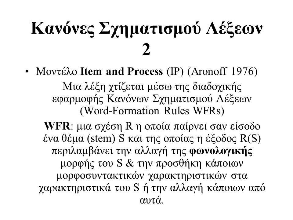 Κανόνες Σχηματισμού Λέξεων 2 Μοντέλο Item and Process (IP) (Aronoff 1976) Μια λέξη χτίζεται μέσω της διαδοχικής εφαρμοφής Κανόνων Σχηματισμού Λέξεων (
