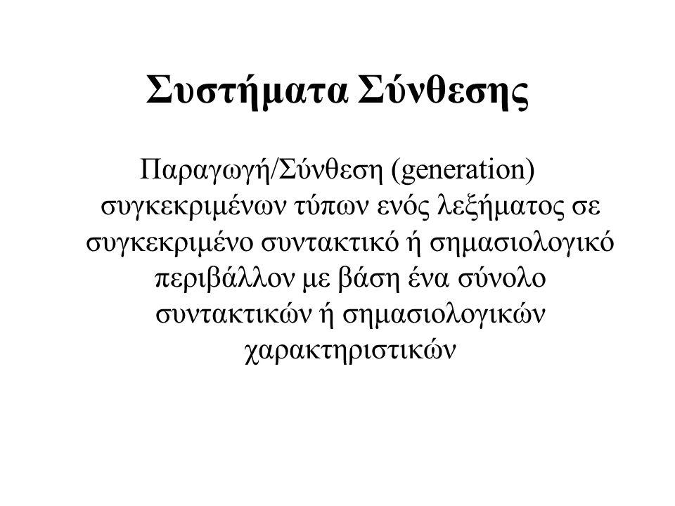 Συστήματα Σύνθεσης Παραγωγή/Σύνθεση (generation) συγκεκριμένων τύπων ενός λεξήματος σε συγκεκριμένο συντακτικό ή σημασιολογικό περιβάλλον με βάση ένα
