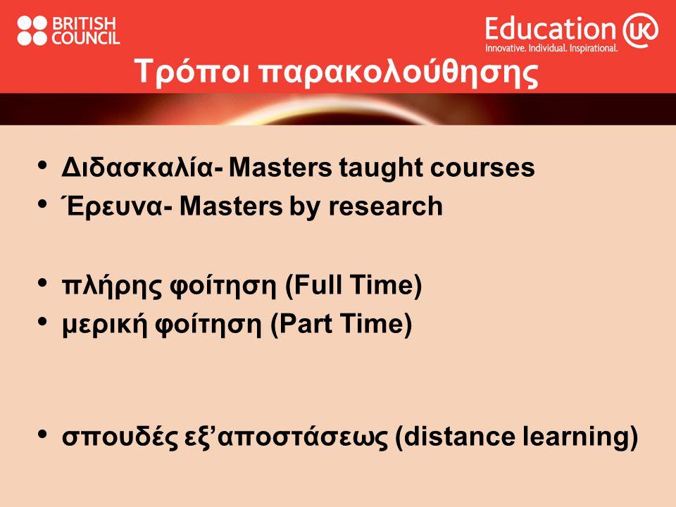 Τρόποι παρακολούθησης Διδασκαλία- Masters taught courses Έρευνα- Masters by research πλήρης φοίτηση (Full Time) μερική φοίτηση (Part Time) σπουδές εξ'αποστάσεως (distance learning)
